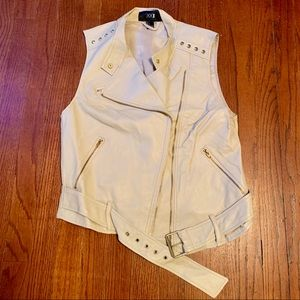 Forever 21 Ivory Faux Leather Motorcycle vest L